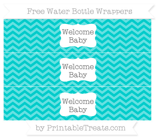 Free Robin Egg Blue Chevron Welcome Baby Water Bottle Wrappers
