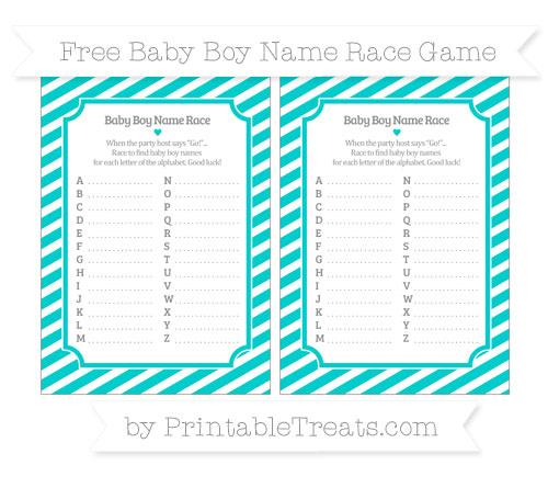 Free Robin Egg Blue Diagonal Striped Baby Boy Name Race Game