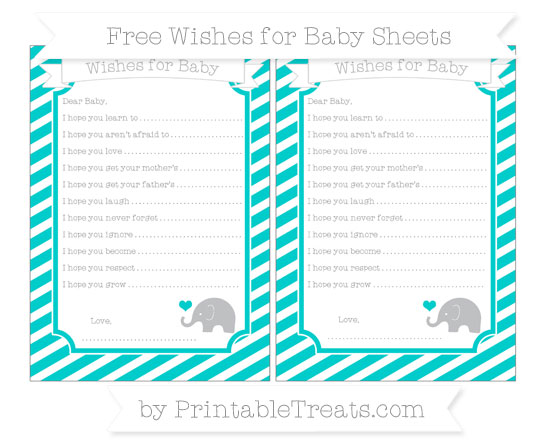 Free Robin Egg Blue Diagonal Striped Baby Elephant Wishes for Baby Sheets