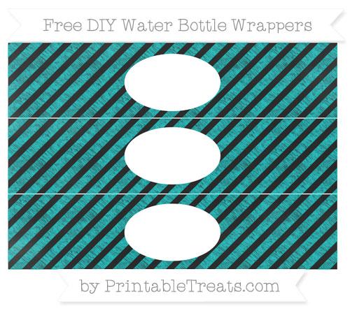 Free Robin Egg Blue Diagonal Striped Chalk Style DIY Water Bottle Wrappers