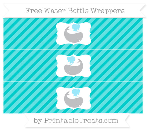 Free Robin Egg Blue Diagonal Striped Whale Water Bottle Wrappers