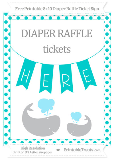 Free Robin Egg Blue Dotted Baby Whale 8x10 Diaper Raffle Ticket Sign