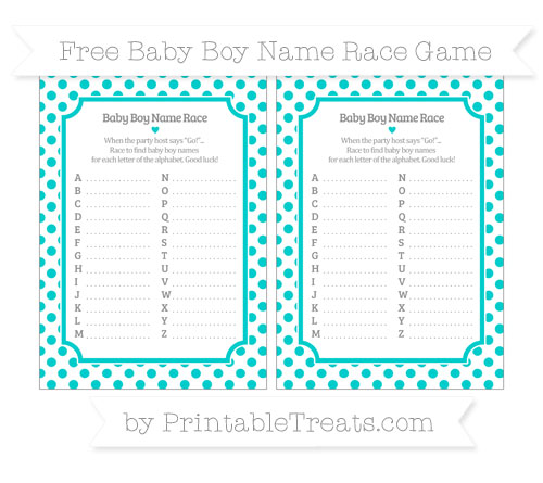 Free Robin Egg Blue Dotted Pattern Baby Boy Name Race Game