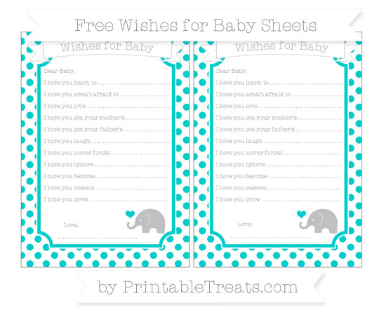 Free Robin Egg Blue Dotted Pattern Baby Elephant Wishes for Baby Sheets