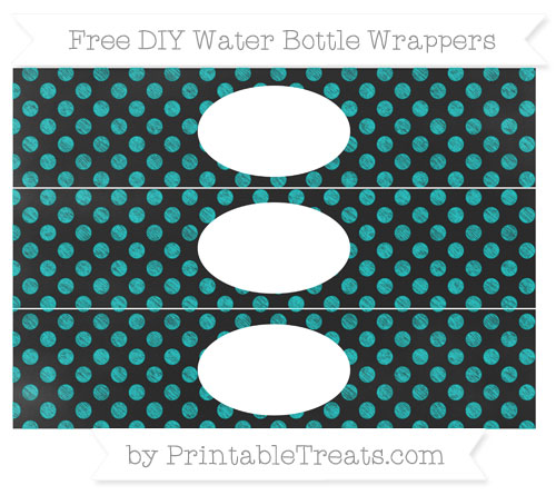 Free Robin Egg Blue Dotted Pattern Chalk Style DIY Water Bottle Wrappers
