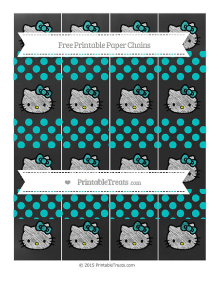 Free Robin Egg Blue Dotted Pattern Chalk Style Hello Kitty Paper Chains