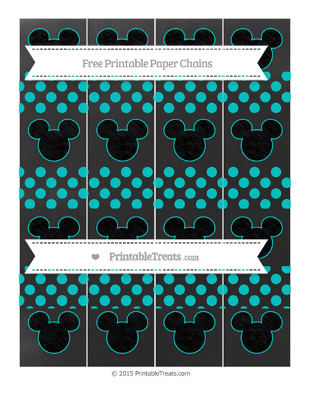 Free Robin Egg Blue Dotted Pattern Chalk Style Mickey Mouse Paper Chains