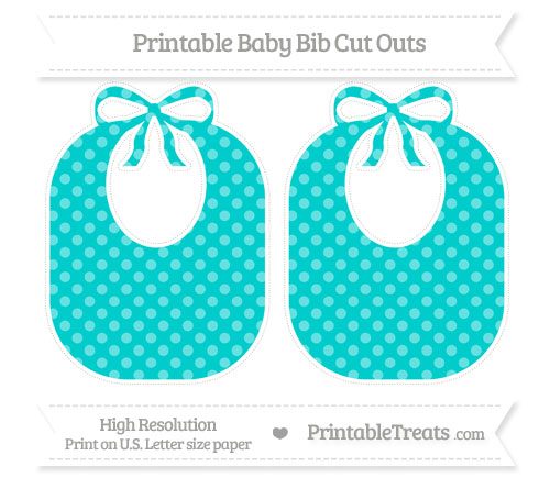 Free Robin Egg Blue Dotted Pattern Large Baby Bib Cut Outs