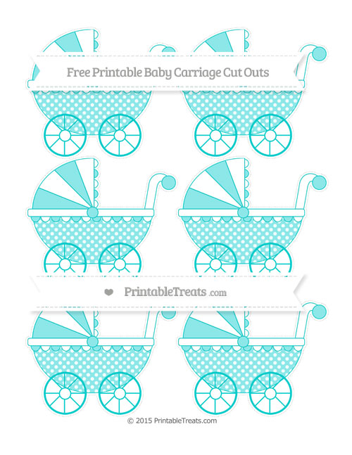 Free Robin Egg Blue Dotted Pattern Small Baby Carriage Cut Outs