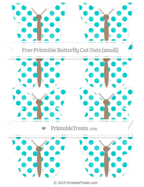 Free Robin Egg Blue Dotted Pattern Small Butterfly Cut Outs