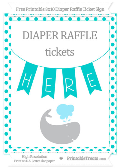 Free Robin Egg Blue Dotted Whale 8x10 Diaper Raffle Ticket Sign