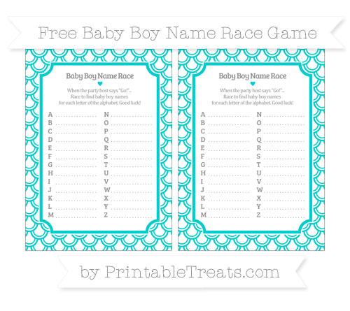Free Robin Egg Blue Fish Scale Pattern Baby Boy Name Race Game