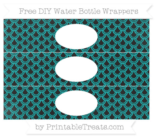 Free Robin Egg Blue Fish Scale Pattern Chalk Style DIY Water Bottle Wrappers