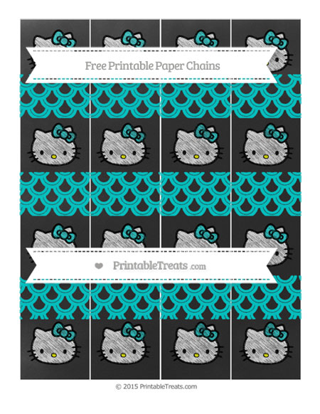 Free Robin Egg Blue Fish Scale Pattern Chalk Style Hello Kitty Paper Chains