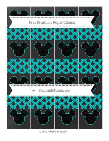 Free Robin Egg Blue Fish Scale Pattern Chalk Style Mickey Mouse Paper Chains