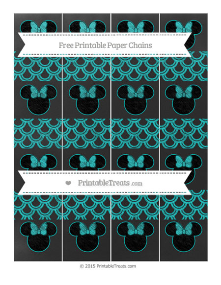 Free Robin Egg Blue Fish Scale Pattern Chalk Style Minnie Mouse Paper Chains