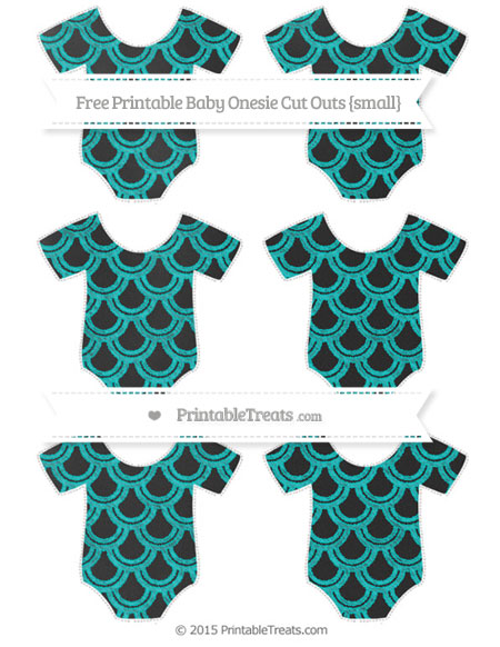 Free Robin Egg Blue Fish Scale Pattern Chalk Style Small Baby Onesie Cut Outs