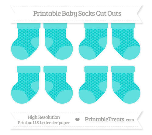 Free Robin Egg Blue Fish Scale Pattern Small Baby Socks Cut Outs