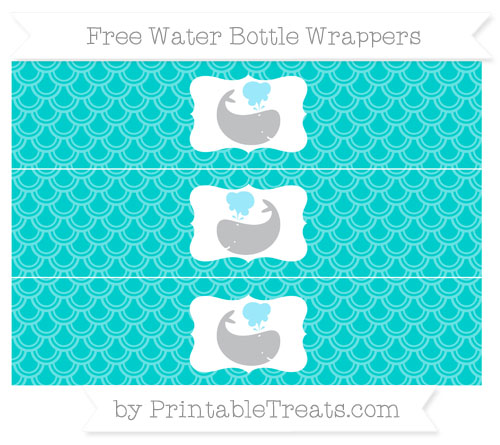 Free Robin Egg Blue Fish Scale Pattern Whale Water Bottle Wrappers