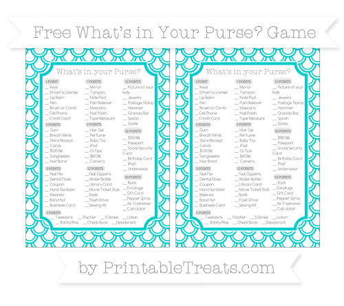 Free Robin Egg Blue Fish Scale Pattern What's in Your Purse Baby Shower Game