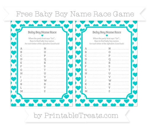 Free Robin Egg Blue Heart Pattern Baby Boy Name Race Game