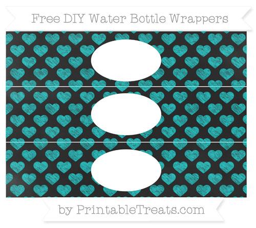 Free Robin Egg Blue Heart Pattern Chalk Style DIY Water Bottle Wrappers