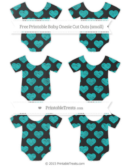 Free Robin Egg Blue Heart Pattern Chalk Style Small Baby Onesie Cut Outs