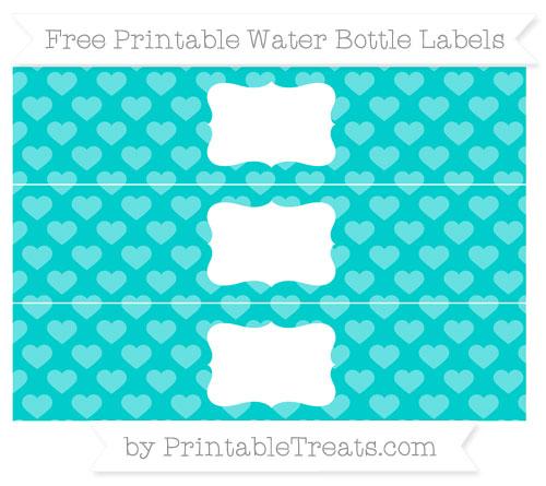 Free Robin Egg Blue Heart Pattern Water Bottle Labels