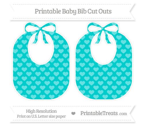 Free Robin Egg Blue Heart Pattern Large Baby Bib Cut Outs