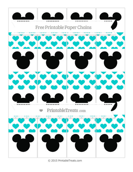 Free Robin Egg Blue Heart Pattern Mickey Mouse Paper Chains