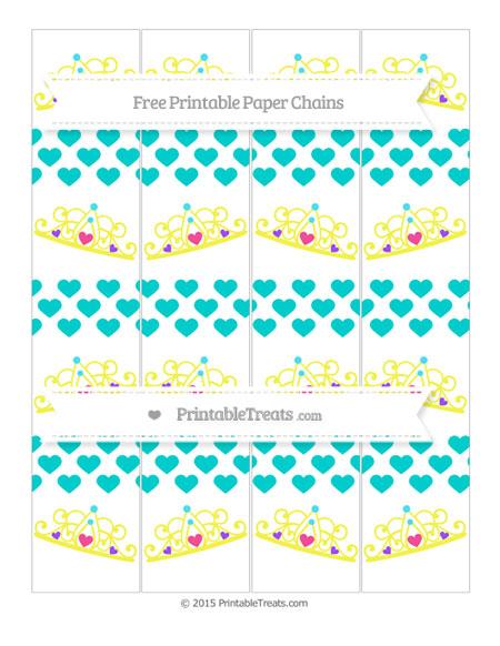 Free Robin Egg Blue Heart Pattern Princess Tiara Paper Chains