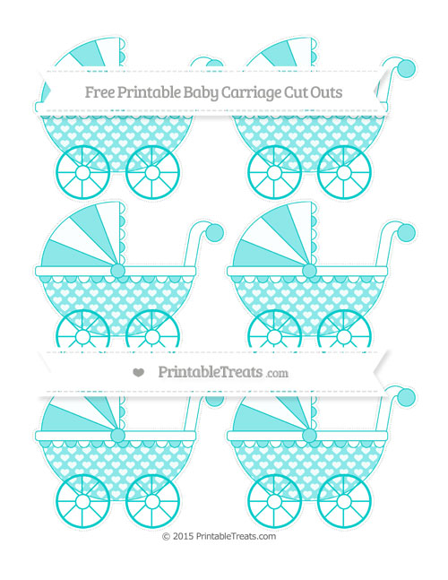 Free Robin Egg Blue Heart Pattern Small Baby Carriage Cut Outs