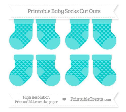 Free Robin Egg Blue Heart Pattern Small Baby Socks Cut Outs