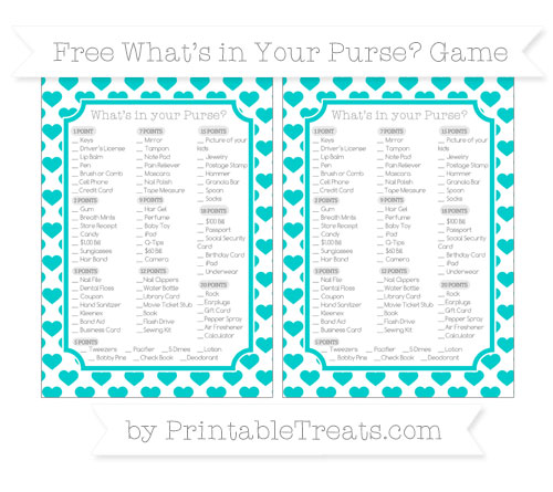 Free Robin Egg Blue Heart Pattern What's in Your Purse Baby Shower Game