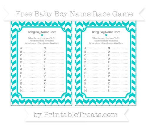 Free Robin Egg Blue Herringbone Pattern Baby Boy Name Race Game