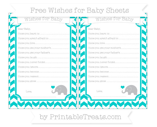 Free Robin Egg Blue Herringbone Pattern Baby Elephant Wishes for Baby Sheets
