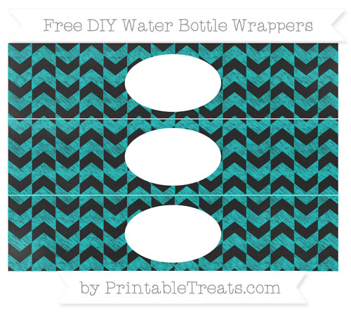 Free Robin Egg Blue Herringbone Pattern Chalk Style DIY Water Bottle Wrappers