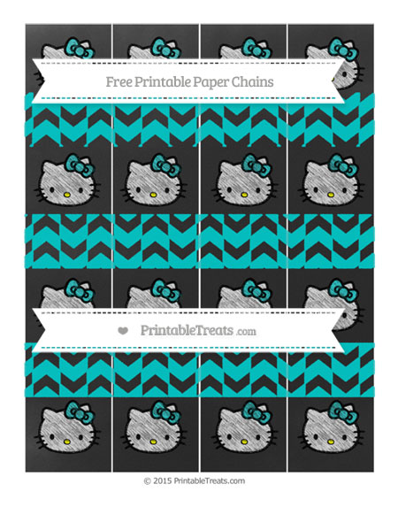 Free Robin Egg Blue Herringbone Pattern Chalk Style Hello Kitty Paper Chains