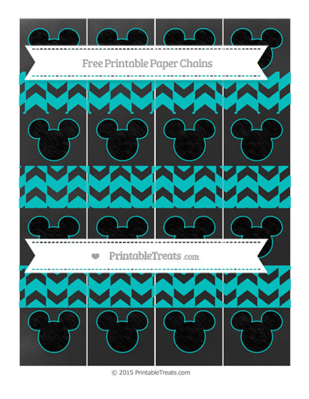 Free Robin Egg Blue Herringbone Pattern Chalk Style Mickey Mouse Paper Chains