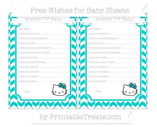Free Robin Egg Blue Herringbone Pattern Hello Kitty Wishes for Baby Sheets