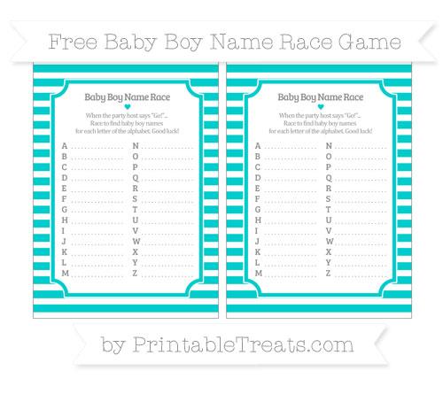 Free Robin Egg Blue Horizontal Striped Baby Boy Name Race Game