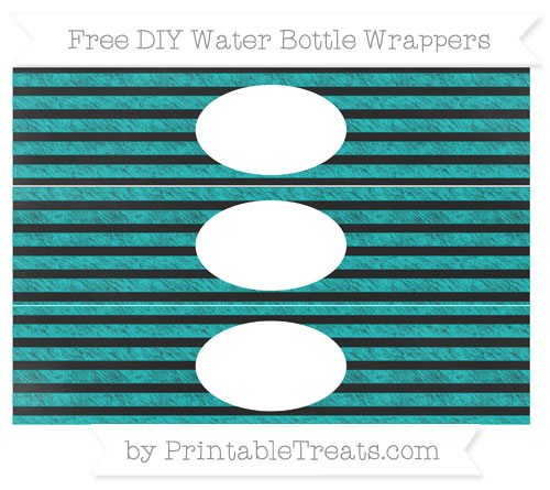 Free Robin Egg Blue Horizontal Striped Chalk Style DIY Water Bottle Wrappers