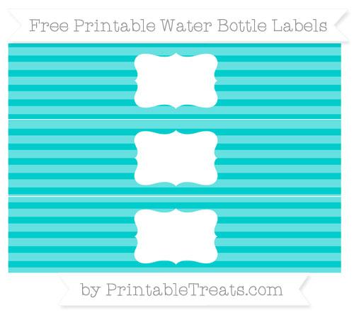 Free Robin Egg Blue Horizontal Striped Water Bottle Labels