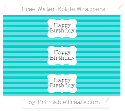 Free Robin Egg Blue Horizontal Striped Happy Birhtday Water Bottle Wrappers