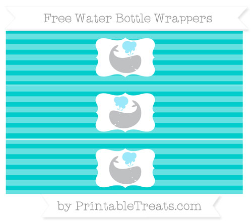 Free Robin Egg Blue Horizontal Striped Whale Water Bottle Wrappers