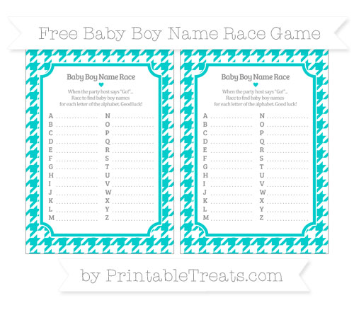 Free Robin Egg Blue Houndstooth Pattern Baby Boy Name Race Game
