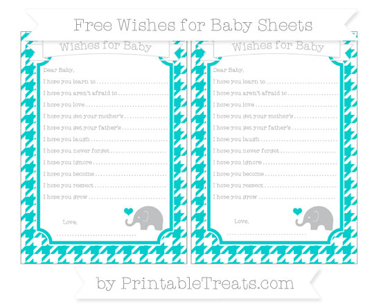 Free Robin Egg Blue Houndstooth Pattern Baby Elephant Wishes for Baby Sheets