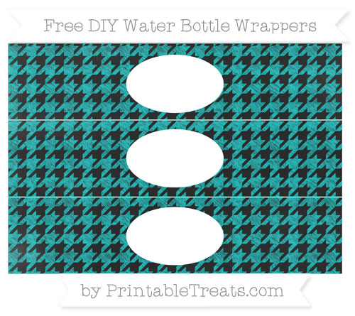 Free Robin Egg Blue Houndstooth Pattern Chalk Style DIY Water Bottle Wrappers