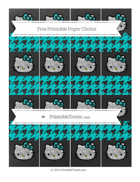 Free Robin Egg Blue Houndstooth Pattern Chalk Style Hello Kitty Paper Chains