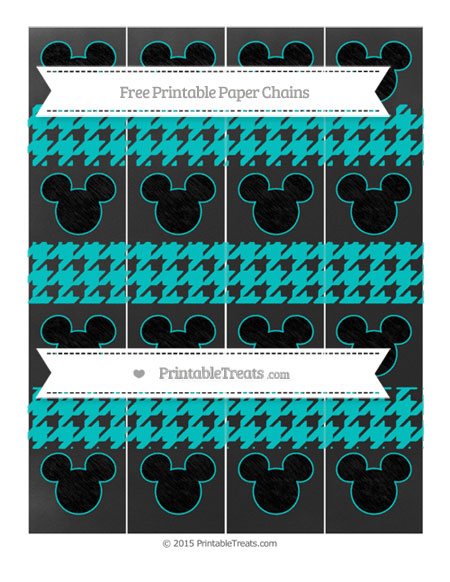 Free Robin Egg Blue Houndstooth Pattern Chalk Style Mickey Mouse Paper Chains